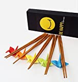 Happy Sales 5 Piece Crane Chopstick Set with Rests MC, Assorted