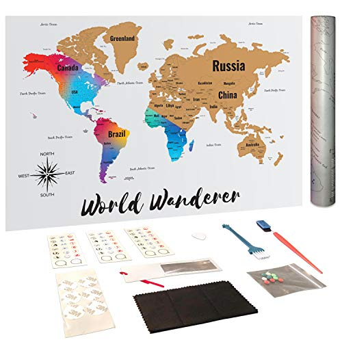 World Wanderers Scratch off Map of the World with United States and Canada State Boundaries | Large Deluxe Edition Gold Peel off | Travellers Gift with Tools and Memory Stickers