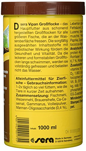 sera 00175 vipan Großflocken 1000 ml –  der Klassiker – Hauptfutter für alle Zierfische in Gesellschaftsaquarien, Flockenfutter, für schönere und größere Fische - 2