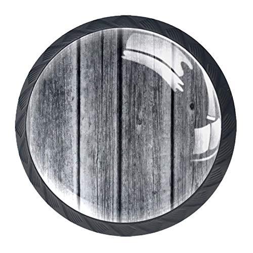Paquete de 4 perillas de puerta de gabinete manijas de cajón redondas con tornillo de acero inoxidable para cocina baño dormitorio guardería Madera gris 3.5×2.8CM