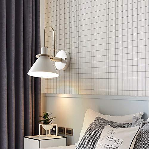 Mrdsre Led Smeedijzer Muur E27 Muur verlichtingsarmaturen Amerikaanse industriële stijl woonkamer binnen wandlamp met snoer Electric Keuken Slaapkamer Living Room (Color : White)