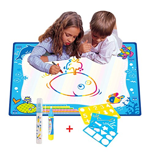 70CMx50CM Doodle Magic Tapis De Eau Dessins Arc en Ciel,TQP-CK Dessin Peinture Mat écriture 2 Doodle Water Magic stylo + 3 Stencil,Ozean