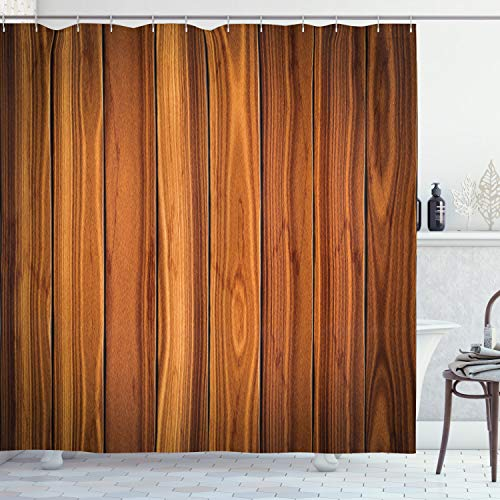 """Ambesonne Rustic Shower Curtain, Vertical Wooden Planks Image Cottage Cabin Life in Countryside Theme, Cloth Fabric Bathroom Decor Set with Hooks, 75"""" Long, Pale Caramel and Orange"""