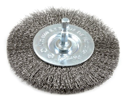 Forney 72740 Wire Wheel Brush, Fine Crimped with 1/4-Inch Hex Shank, 4-Inch-by-.008-Inch