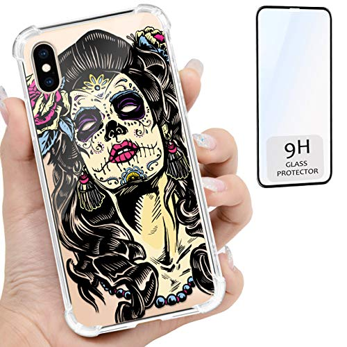 iProductsUS Compatible with iPhone Xs MAX Clear Case and Screen Protector, Print Skull Girl (Day of The Dead) Crystal Slim Cover, Hard PC Back + Soft TPU Bumper Protective Shockproof Cases (6.5 inch)