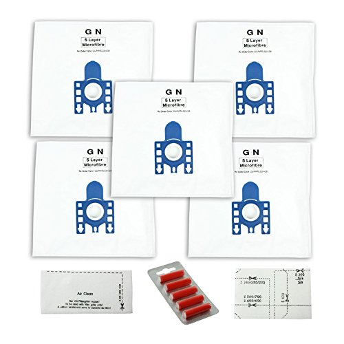 First4spares Typ GN High Filtration Tuch-Staubsaugerbeutel für Miele Staubsauger (Packung mit 5, Motor und Luftfilter + 5 Lufterfrischer)