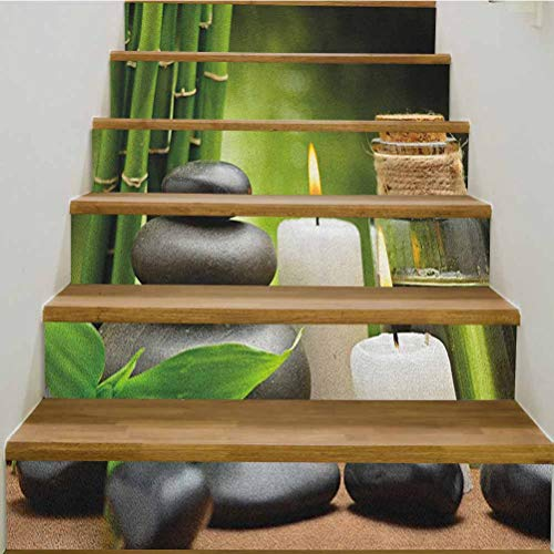 LCGGDB 3D Spa Stairs Stickers,Hot Massage Rocks Combined with Candles and Scents Landscape of Bamboo Print Wallpaper Removable Wall Decal,39.3' w x 7' h x6pcs/2 Set,Green White and Black