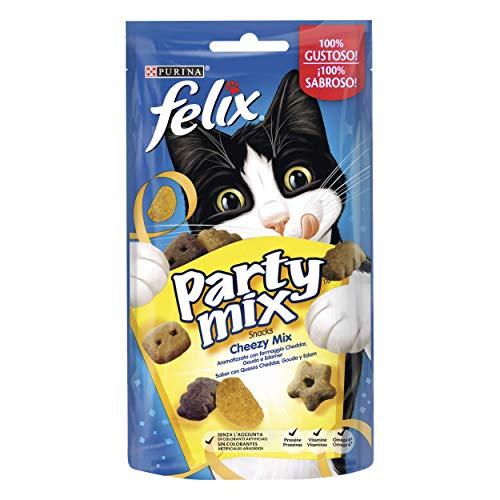 Purina Felix Party Mix Snack Gatto Cheezy Mix Aromatizzato con Formaggio Cheddar, Gouda e Edamer, 8...
