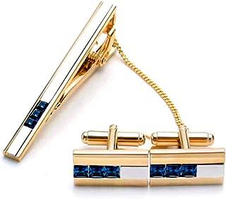 BXLE Romantic Cufflinks &Tie Clip Set, Modern Swarovski Crystal Shirt Studs & Necktie Bar, Fashion Collection Cuff Links Stickpin, Small Shiny Tie Pin & Cuff Button