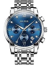 「オレブス」OLEVSメンズファッション腕時計 多機能 クオーツムーブメント 合金ケース クロノグラフ 高品質ステンレススチール防水腕時計