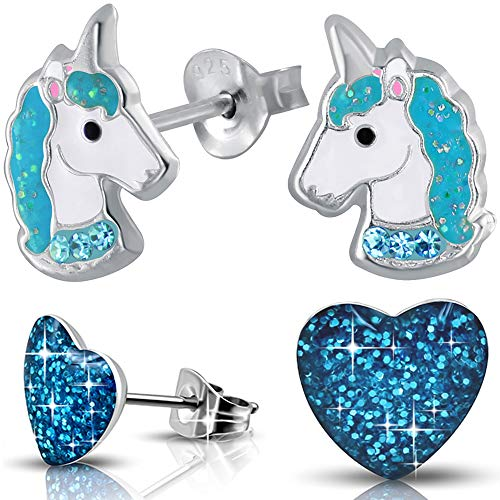 2 Paar Mädchen Ohrringe echt 925 Sterling Silber mit Zirkonia Edelstahl Kinder Ohrstecker Einhorn Pferde Herz (K756+K186)
