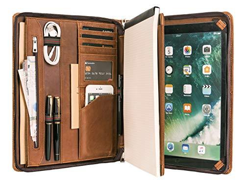 Calfinder Leder Schreibmappe DIN A4 - Vintage Dokumentenmappe mit Reißverschluss, Hochwertige Aktenmappe aus Ledermappe mit Schreibblock, Tablet Mappe für iPad Pro 12.9 (2018/2020), Braun