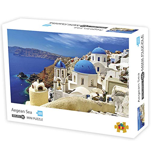 Herize Mini Puzzle 1000 Pezzi Puzzle per Adulti | Jigsaw per Bambini | Paesaggio Mare Egeo Città Giochi Educativi Brain Challeng | età Consigliata 8+Regalo Decorazione della Casa di Natale 42*29.7CM