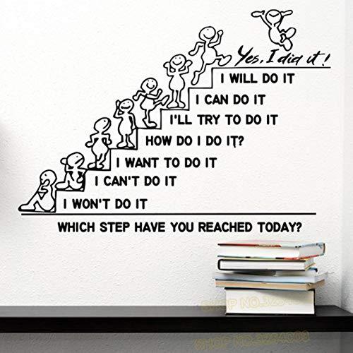 MWLSW Wandaufkleber Motivation Wall Decals zitieren, welchen Schritt haben Sie Heute erreicht Decal Office Sticker Schlafzimmer Kinderzimmer Home Decor Art Murals L895