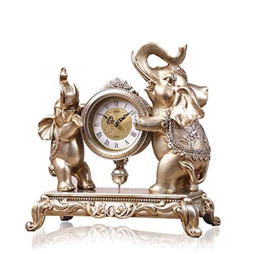O&YQ Comptoir Horloge de Table Horloge de Table Éléphant Horloge de Bon Augure Ornements Silencieux Comptoir Horloge de Chevet Chiffres Romains Il S'Applique Aux Familles Bureaux Ect