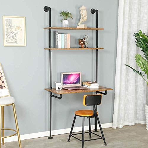 ZIOTHUM Industrial Iron Pipe Laptop Desk Shelving 3 Tiers Rustic Wall Ladder Bookshelf Vintage DIY Shelving for Living Room Home Office Storage Collection Black (Depth 20inch)