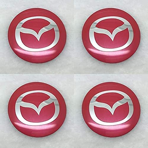 LZYYDS 4 Piezas Tapas Centrales Rueda para Mazda 3 2 6 Atenza Axela Mx3 Mx5 Cx-5 Cx-3,Aluminio Coche Tapacubos Centra,Tapas Centrales De Llantas Pegatinas El óXido con El Logo,DecoracióN Coche 65mm