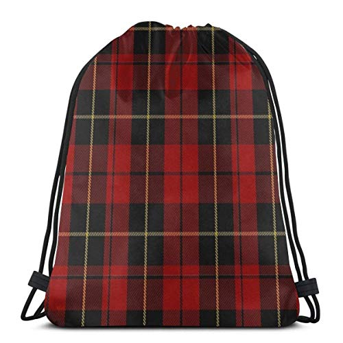 Lsjuee Wallace Clan Red Tartan Drawstring Backpack Sport Bags Cinch Tote Bags for Traveling and Storage for Men and Women 17x14 inch