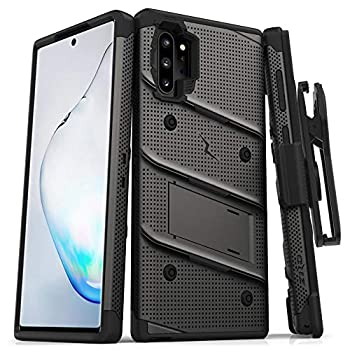 ZIZO Bolt Series for Samsung Galaxy Note 10 Plus Case | Heavy-Duty Military-Grade Drop Protection w/Kickstand Included Belt Clip Holster Lanyard  Metal Gray/Black