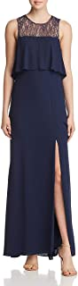 BCBG Max Azria Women's Lace Tiered Sleeveless Full Length Gown
