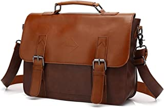 JJJJD Men's Business Briefcase, Leather Brown Laptop Messenger Bags Vintage Document Office Attache Case
