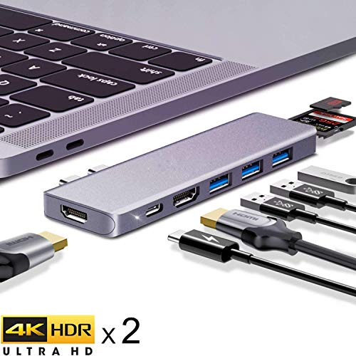 ANWIKE USB C Hub, USB C auf HDMI Adapter mit Dual 4k HDMI Adapter für MacBook Pro und MacBook Air 2019 2018, 8-in-1 MacBook Pro Adapter mit 87W USB-C PD, 3 USB 3.0, SD/TF-Kartenleser