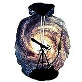 Telescopio Swirl Digital Impreso Sombrero Parejas Cubierta Camiseta de Manga Larga Primavera y otoño Hombres y Mujeres 4XL