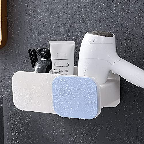 LYZL Estanteria Baño Ducha, Rejilla De Almacenamiento para Secador Pelo, Estante Multifuncional De Pared, Diseño De Broche Flexible, para Baño Ducha(Un Par),Blue White