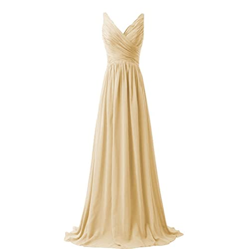 d61f22a95de KARMA PROM Women s Chiffon V-neck Sleeveless Prom Dress Simple Bridesmaid  Dress