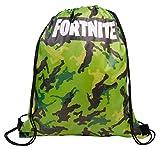 Fortnite Mochila con Cordón | Bolsas con Cordón para La Escuela, Kit De Educación Física, Natación, Deporte | Bolsa De Camuflaje para Niños, Adultos (Verde)