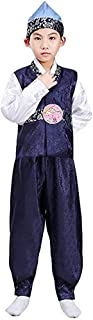 CRB Fashion Korean Outfit Boys Toddler Mens Dolbok Hanbok Top Pants Costume (Height 140cm, Blue Blue)