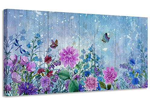 Acocifi Canvas Wall Art Purple Pink Flowers Picture Natural Butterfly Watercolor Painting Vintage Framed Blue Simple Blue Artwork for Living Room Bedroom Office Home Kitchen Dinning Room Decor-40'x20' , One Panel