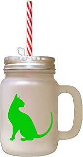 Green Modern Siames Cat Silhouette #1 Frosted Glass Mason Jar With Straw