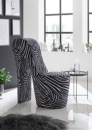 Generisch High Heel Schuhsessel 42x99x79 cm Tierfelloptik Stuhl Designersessel (Zebra, Polyester)