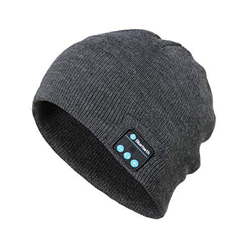 Gorro inalámbrico de punto de Bluetooth, suave y cómodo gorro de Bluetooth lavable para actividades al aire libre, compatible con teléfonos móviles, tabletas (Hemp Black)