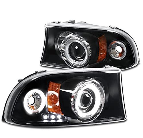 ZMAUTOPARTS LED Halo Projector Headlights Black Compatible with 1997-2004 Dodge Dakota / 1998-2003 Durango