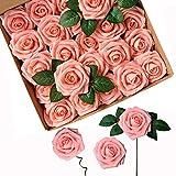 ACDE Fleurs Artificielles, Roses Artificielle 25PCS Mousse Rose Faux Regard Réel avec Feuille et Tige Ajustable pour DIY Mariage Bouquets Mariée Fête Accueil Décorations (Rose)