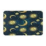 Marutuki Alfombra Decorativa para el Baño,Luna Cuerpos Celestes Dorada,Alfombra de Baño Suave Antideslizante Micro Felpa,80 x 49 cm