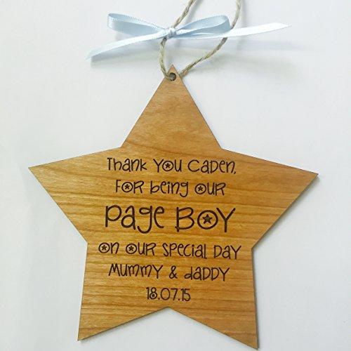 Page Boy Thank You cadeau de mariage pour plaque en bois Inscription Star Style shabby chic de cerisier