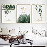 Hojas de vid verde Pinturas en lienzo Imagen de arte de pared Combinación de plantas en inglés dorado Carteles e impresiones creativos para la decoración del hogar -42x60cmx3 No Frame