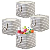mDesign Juego de 4 Cajas organizadoras con tiradores de cuerda - Organizadores para el lavadero - Cubo para ropa, productos de limpieza y jabón de lavar - gris/crema
