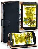 MoEx Premium Book-Hülle Handytasche passend für Motorola Moto C Plus | Handyhülle mit Kartenfach & Ständer - 360 Grad Schutz Handy Tasche, Schwarz