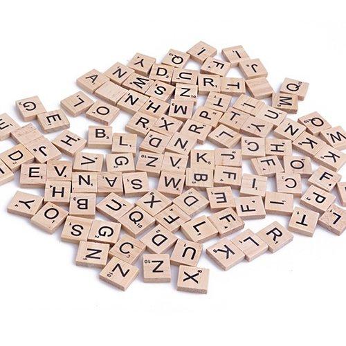 100 piezas de madera alfabeto Scrabble letras números de los niños juguete educativo: Amazon.es: Hogar