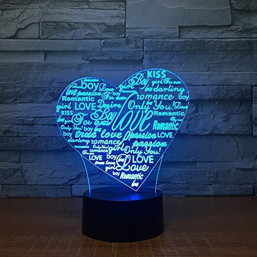 Corazón Letra Forma Acrílico LED 3D Lámpara USB 7 Color Noche Luz Dormir Iluminación Romántico Ambiente Lámpara Decoración para el hogar