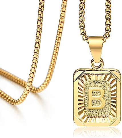 Hermah Gold Plated Square Capital Initial Letter B Charm Pendant Necklace for Men Women Box product image