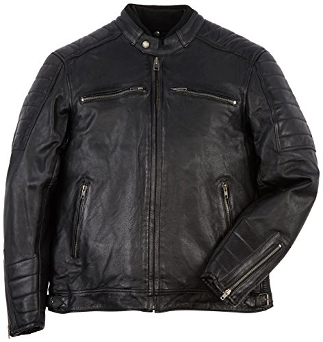Helstons Chaqueta moto Cruiser Cuero Rag Negro, Negro, M