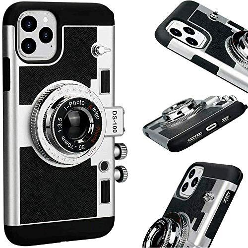 FLYRCX Neue Emily in Paris Handyhülle Vintage-Kamera, Moderne 3D-Vintage-Kamera-Design Silikonhülle mit langem Gurtseil, Handyhülle für iPhone 11 PRO MAX/X/XS/MAX (iphone11pro max,Schwarz)