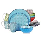 16 Piece Charm Porcelain Ceramic Dinnerware Set, Service for 4, Microwave Dishwasher Safe Abstract Pattern Multi-Colored Blue Green Red Dinnerware Set, Round Dinner, Dessert Plates, Bowls and Cups Set