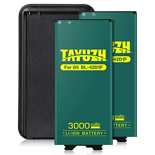 TAYUZH LG G5 Battery, 2X 3000mAh Replacement LG BL-42D1F Li-ion Spare Battery with Battery Charger for LG G5 H820 LS992 H830 VS987 US992 H845 H850 H858-24 Month Warranty