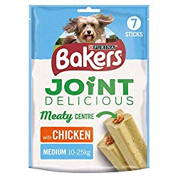 "Delicious chewy sticks with a soft meaty centre A complementary pet food for dogs that weigh 10-25kg ""Glucosamine to help keep joints healthy & mobile. Vitamin E & C to help maintain joint flexibility."" ""Low in fat No Added Artificial Colours"" A comp..."